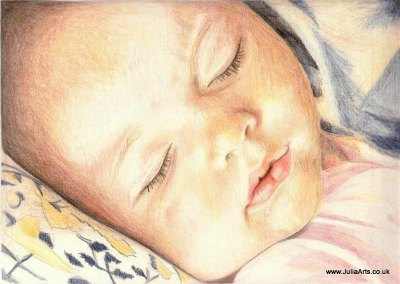 Baby Girl Sleeping Coloured Pencil Portrait by JuliaArts